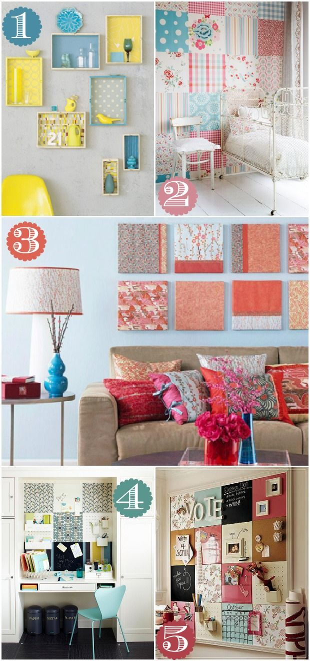 Great blog on - 42 Ways to Decorate with Scrapbook Paper. Love the scrapbook papered wall as a fun alternate to wall paper.