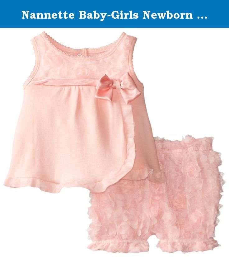 Nannette Baby-Girls Newborn Peach Interlock Top with Novelty Satin Ribbon Rosette and Bow Detail Matching Diaper Cover, Orange, 0-3 Months. Peach top with matching diaper cover. There is a bow where the overlay begins.