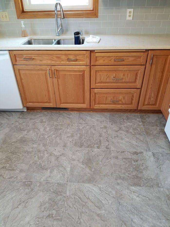Oak Cabinets Luxury Vinyl Tile Floor Allrounder Remodeling Inc