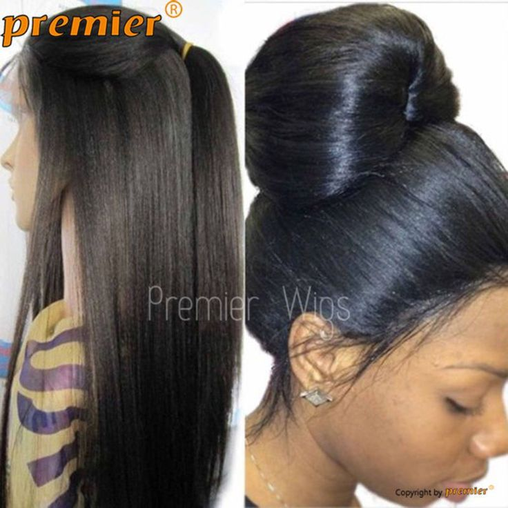 Silk Yaki Straight Full/Front Lace Human Hair Wig 130% Density With Baby Hair   #Premierlacewigs #FullWig