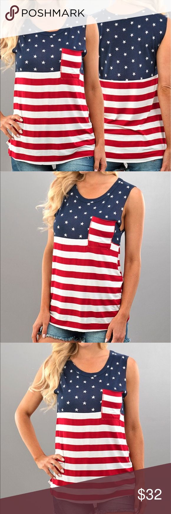 Host Pick!! << Americana Tank Top American Flag >> The best one yet!!! Stars stripes and comfy! This loose fitting tank is sure to show your American pride!! Made of 96% Polyester 4% Spandex for a soft and comfy feel. Small measures approximately 18 inches from armpit to armpit, medium 19.5 inches, and large 20.5 inches Boutique Tops Tank Tops