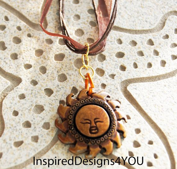 Sun God Carved Wood Pendant Necklace Medium by InspiredDesigns4YOU, $18.00