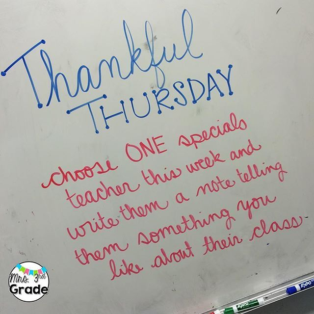 Today my students will reflect on a teacher they are thankful for and share that with them! Who are you thankful for!? I am thankful for YOU!! #teachersfollowteachers #teachersofinstagram #mrs3rdgrade #iteachthird #miss5thswhiteboard