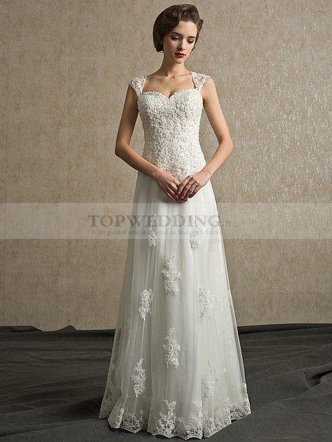Yardena - Mancherons bonnet princesse robe de mariée en tulle avec appliqué