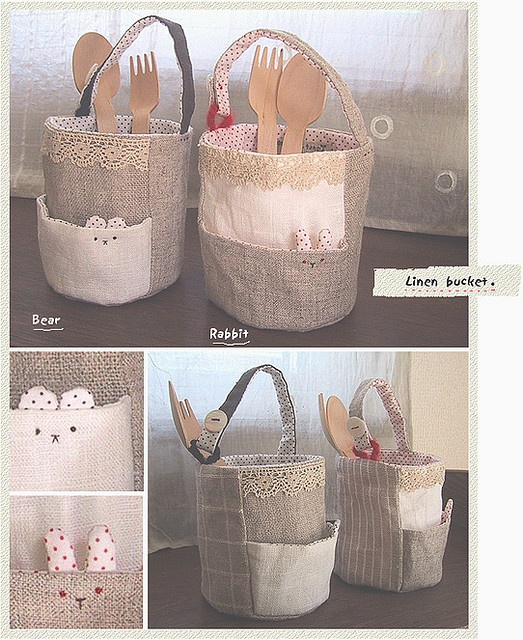 Linen fabric bucket no pattern, cute idea for pockets though