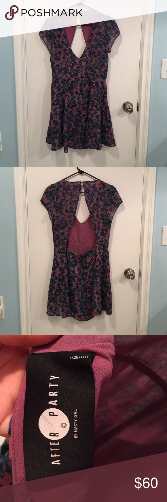 Nast gal floral dress Beautiful open back dress from nasty gal. Worn once. So flattering and nice on Nasty Gal Dresses Mini
