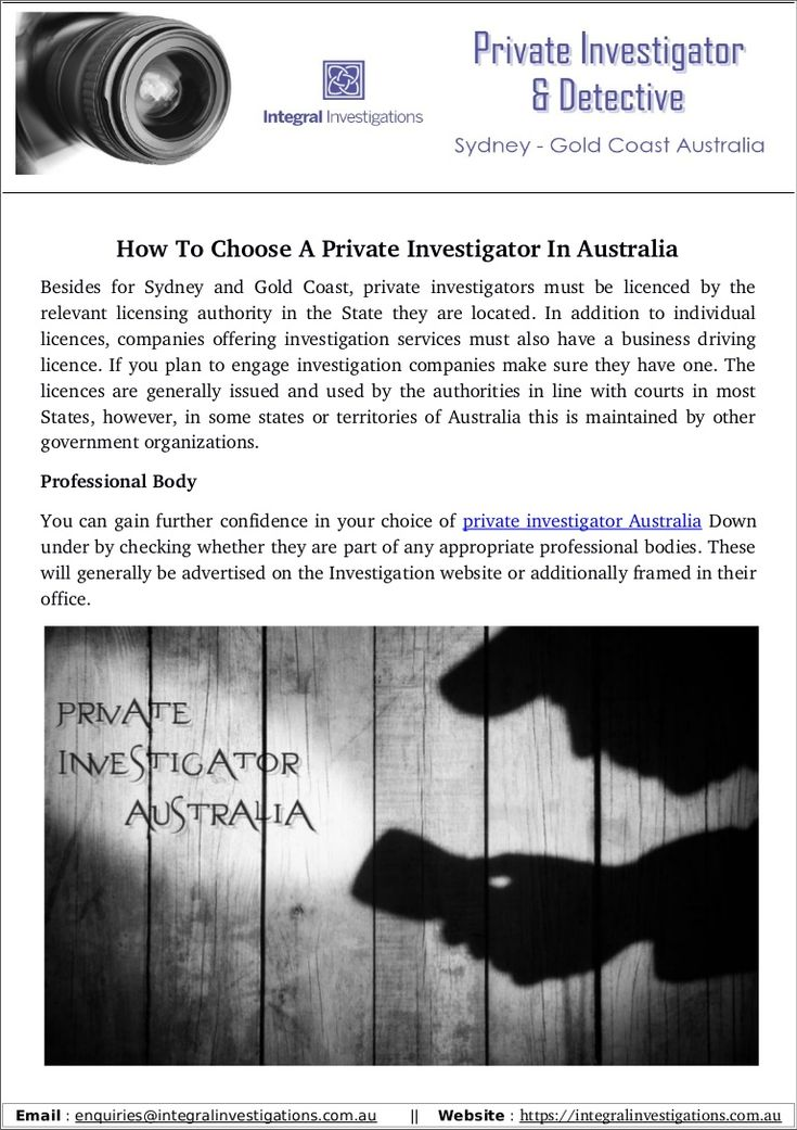 a description of private detectives and investigators as a job profile In books and movies and on television, private investigators are heroes who fight the bad guys, recover the loot, and win the heart of the beautiful woman in real-life they aren't quite as glamorous as they're portrayed by hollywood, but becoming a private investigator is a good job choice for someone interested in a career [.