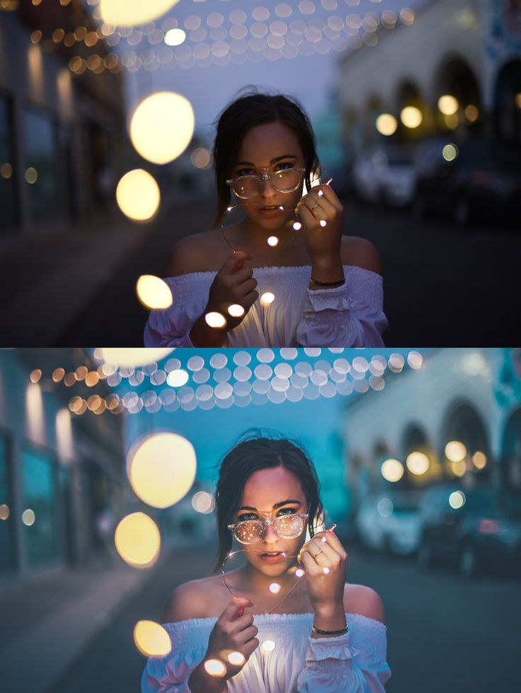 He uses blue tones to brighten his images and create a cool hue. He added more bokeh in via photoshop. This was shot on location in a street.