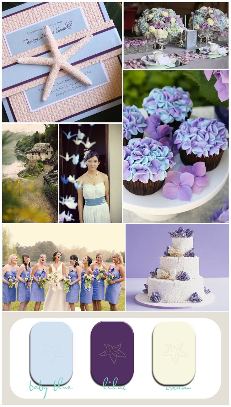 wedding inspiration, beach wedding, beach invitation, blue and lilac wedding, Oh, I'm liking this color scheme :) vintage place setting, hydrangea cupcake, lilac wedding cake, vintage beach wedding