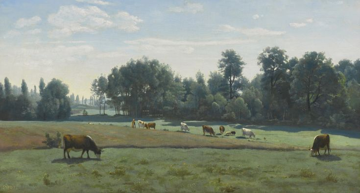 Jean Baptiste Camille Corot (1796-1875) Marcoussis, Cows Grazing [c.1845-50] Marcoussis - les vaches au pturage/ Marcoussis - Cows grazing) signed 'COROT' (lower left) oil on canvas 16 x 29.5/8 in. (41.3 x 75.2 cm.) Christie's  NY 1998, May