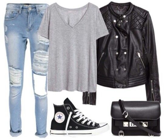 Grey tee with black leather jacket and black high top converse