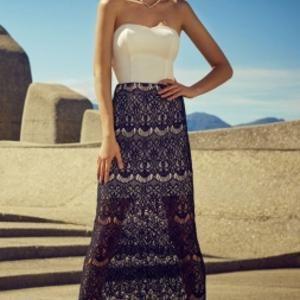 lace skirt bandeau top maxi dress