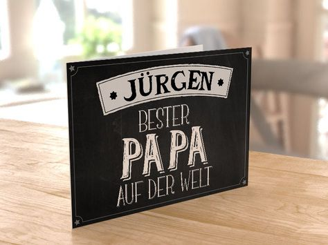 Coole Vatertagskarten selbst gestalten - Dein eigener Spruch als Postkarte gedruckt - für den besten Papa auf der Welt