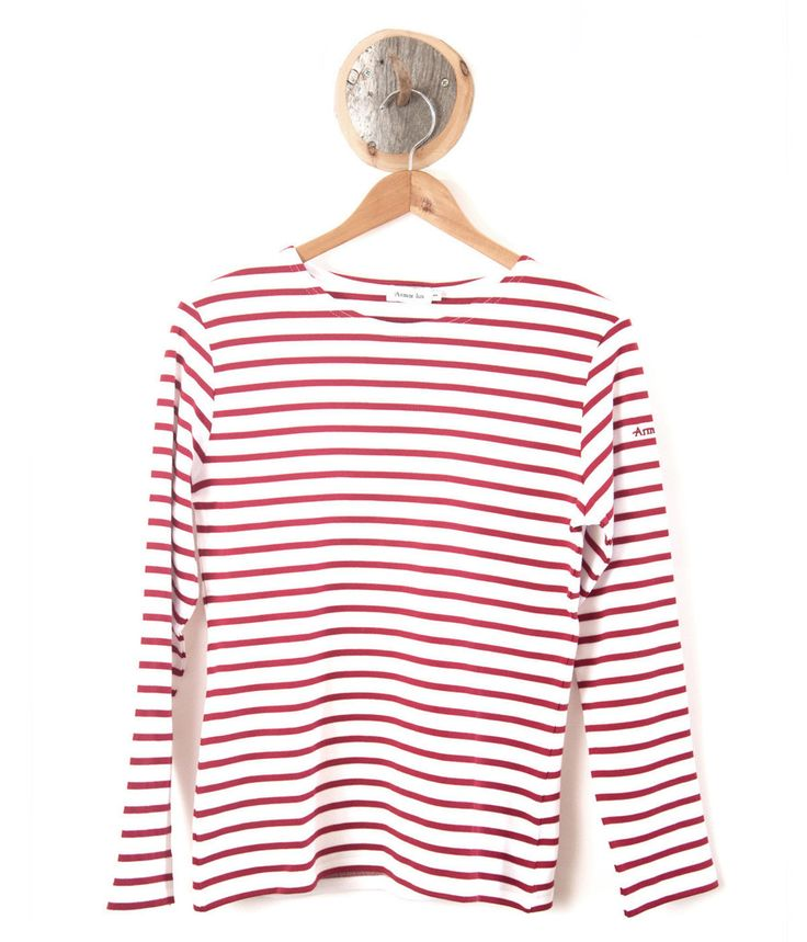 Armor Lux 4277 ladies sailor shirt long sleeve - White/Red stripe