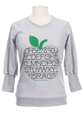 Apple For Teacher Sweater. The cozy heather grey sweatshirt has finally entered the world of fashion. #modcloth
