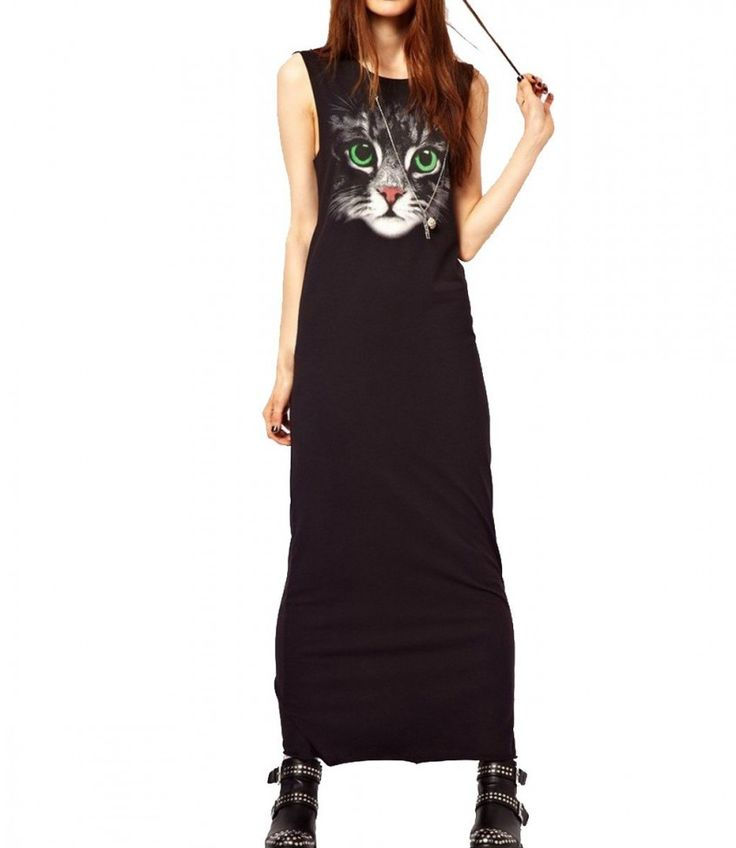 I like how this long cotton cat dress is styled already but it would also look really great with a cropped jean jacket.