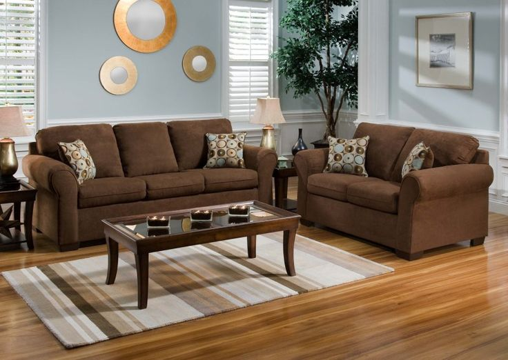 Living Room Warm Color Schemes With Chocolate Brown Couch And Rectangle Glass Coffee Table To Live Up Your Li