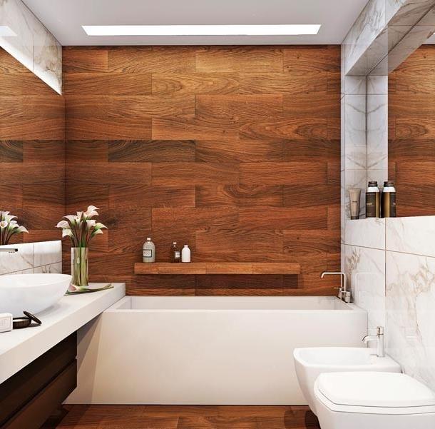 Отделка деревом ванной комнаты. Мода на экологически чистые материалы распространилась и на интерьер ванной комнаты. Так стало возможным использовать дерево, обработанное по современным технологиям для облицовки стен и пола. #дизайн #интерьер #стиль #ванная #сантехника #плитка Каталог: http://santehnika-tut.ru/