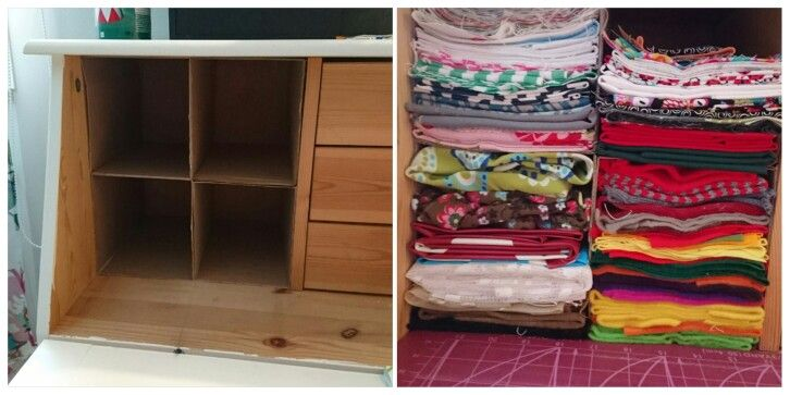 This morning i came up with an idea. How to organize my fabric scraps in a very small space. I used cardboard to divide the space into four smaller units. Then i used a cardboard rectangle to fold all the scraps into right size.