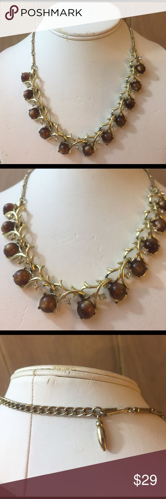 "Vintage Coro Brown Iridescent Stone Necklace Vintage Coro Brown Iridescent Stone Necklace. Excellent condition. Rhinestone small stones. Adjustable. 16"" -18"". Vintage Jewelry Necklaces"