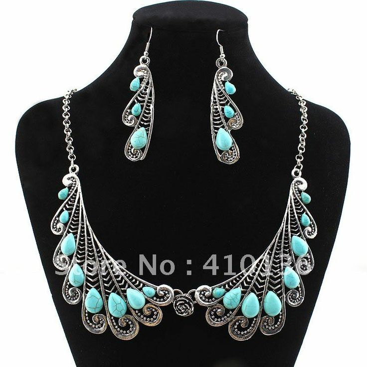 Min.Order $10 PN12347 Hot Sale Turquoise Jewelry Set Vintage Tibet Silver Necklace Earring Set Feather Design Free Shipping $300,99
