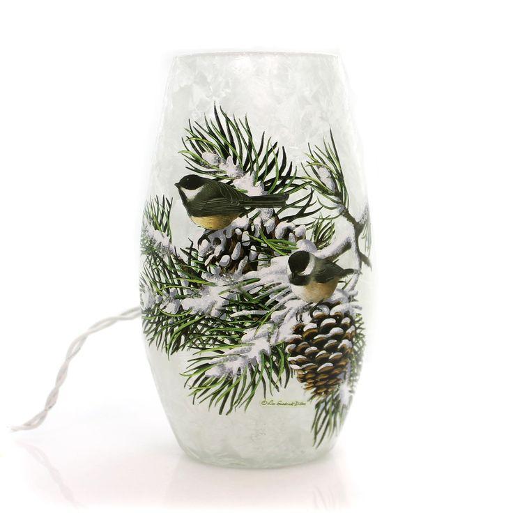 Stony Creek Cardinal Lighted Glass Vase Christmas Decor ...