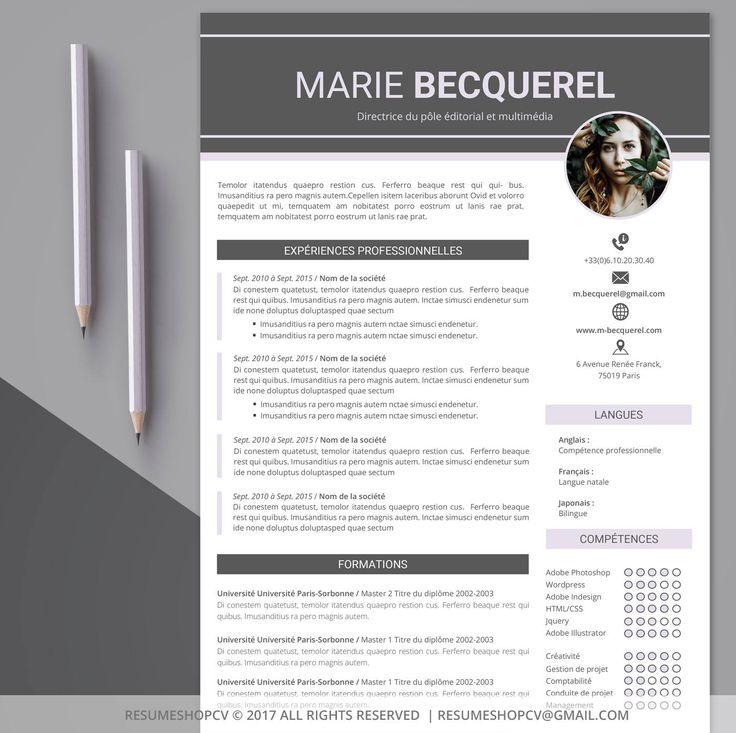 4 cv    curriculum vitae professionnel  moderne et graphique   4 lettres de motivation   pack de