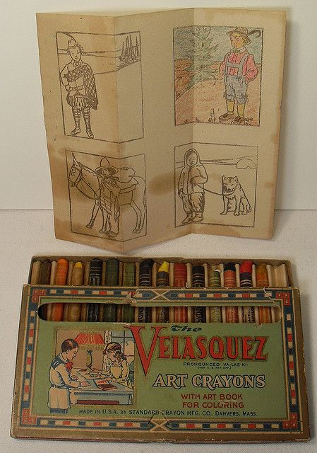 1920s Velasquez Art Crayons with Vintage Coloring Page Included Graphics Illustration.  Beautiful box design, and kudos for cashing in on a famous artist name.