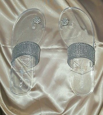 Chinese Laundry Women's jelly sandals,clear,elegant,flip flop,flat,jeweled
