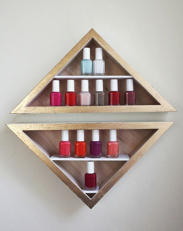 Nail Polish Shelves Check out A Beautiful Mess to learn how to make