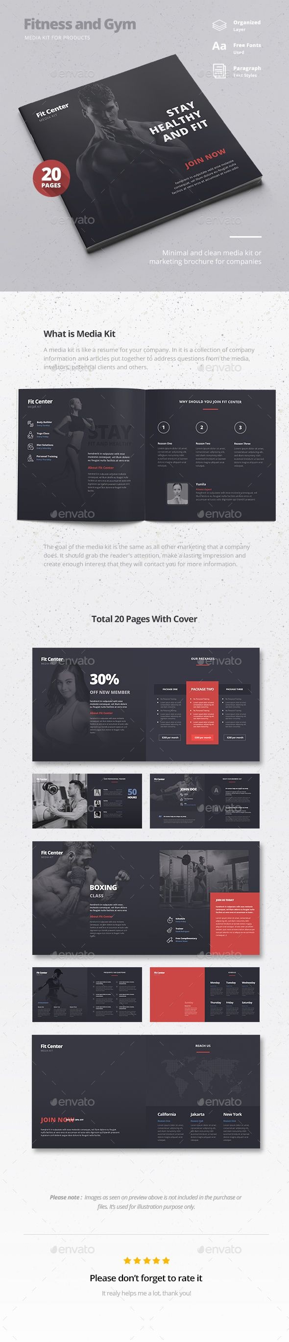 fitness brochure design - fitness gym media kit brochure template psd design