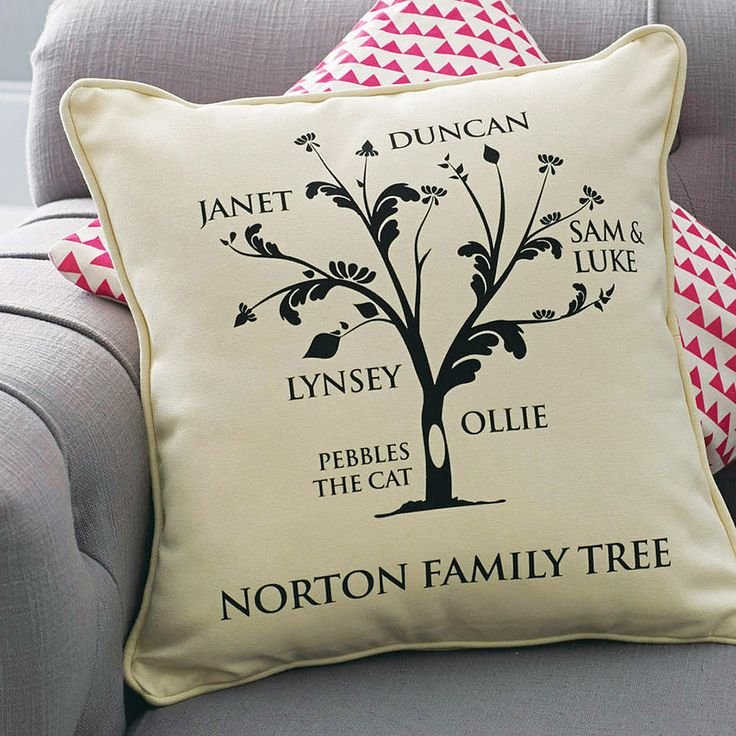 personalised family tree cushion by a type of design   notonthehighstreet.com