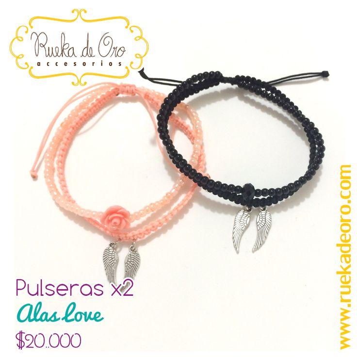 Pulseras Alas Love   Rueka de Oro accesorios www.ruekadeoro.com #accesorios #aretes #collares #pulseras #bolsos #cuellos #relojes #fashion #colombia #bogota