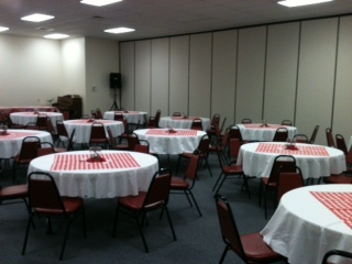 How I decorated the church for our chili cook off last month.  I was going for the county fair look.