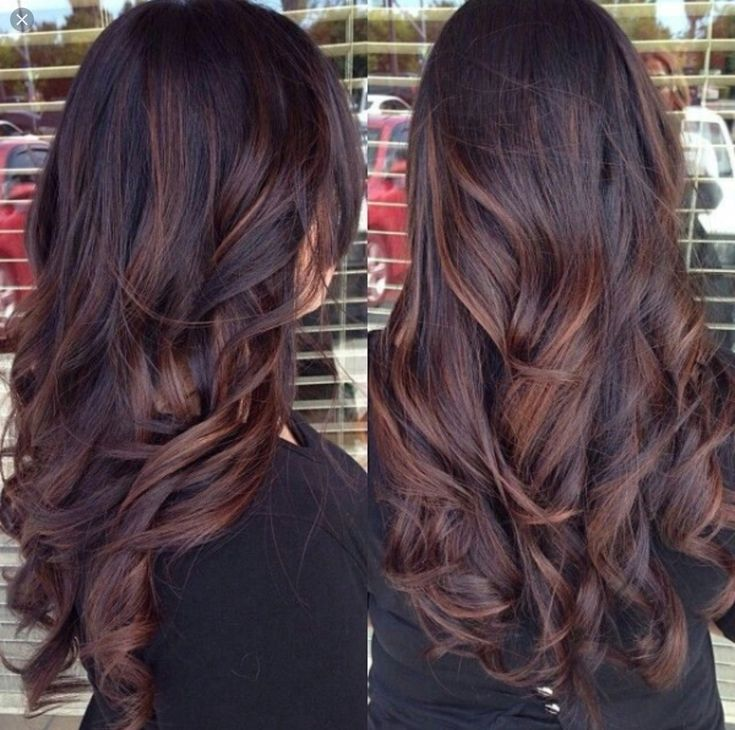 Dark brown hair with auburn lowlights