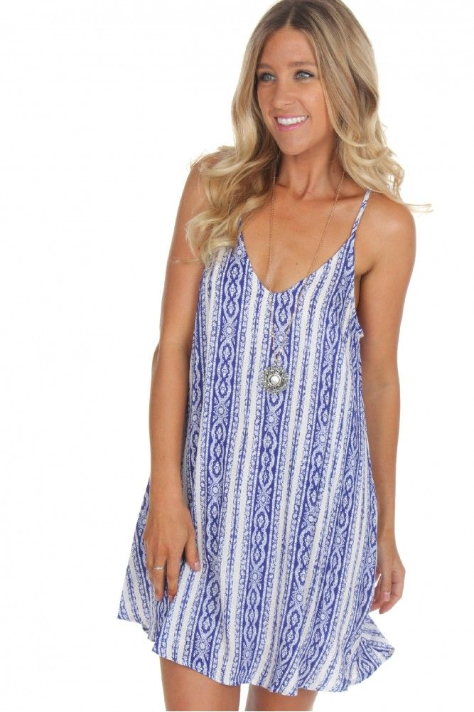 Take Me To The Cape Dress ($32.99) #sophieandtrey #weshipfree #freeshipping #boutique #affordable #clothing #attire #clothes #cheap #preppy #casual #formal #dressy #boho #edgy #backtoschool #sorority #homecoming #social #formal #prom #cute #clothing #ootd #casualdress #blue #white #stripes #pattenered #openback #sundress #recruitment #rush