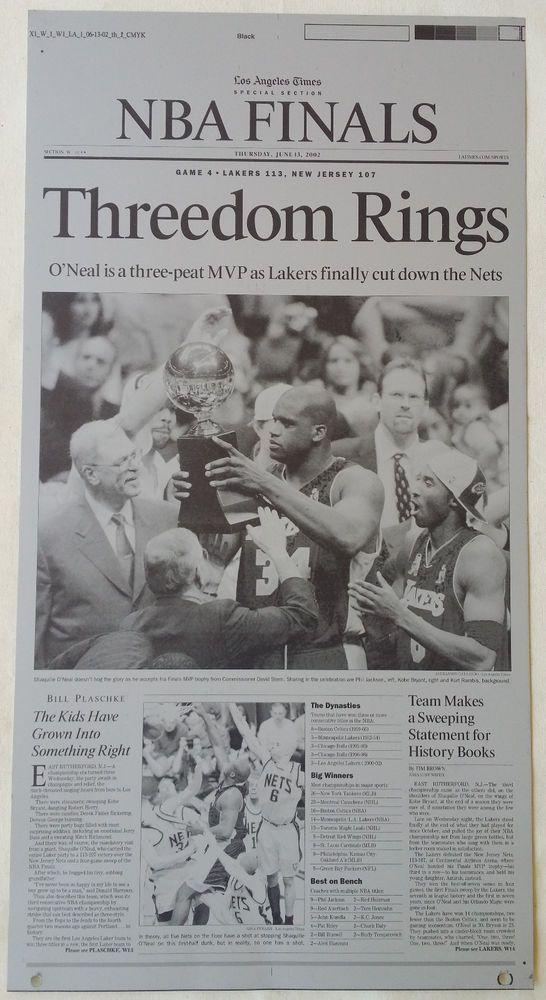 2002  LA LAKERS 3-PEAT CHAMPIONSHIP LA TIMES PRINTING PLATE #LosAngelesTimes #LosAngelesLakers#NBA #Shaq #LATIMES #LakerNation #PrintingPlate #PressPlate #Kobe #PhilJackson #3Peat