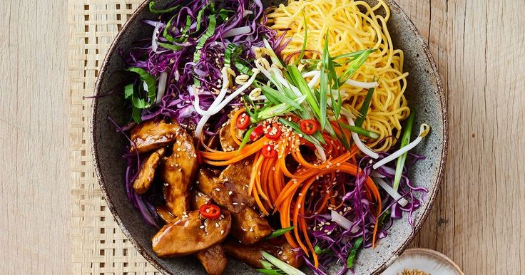 We've taken everyone's favourite chicken chow mein and reinvented it as a dinner bowl – you don't even need a knife to eat it!
