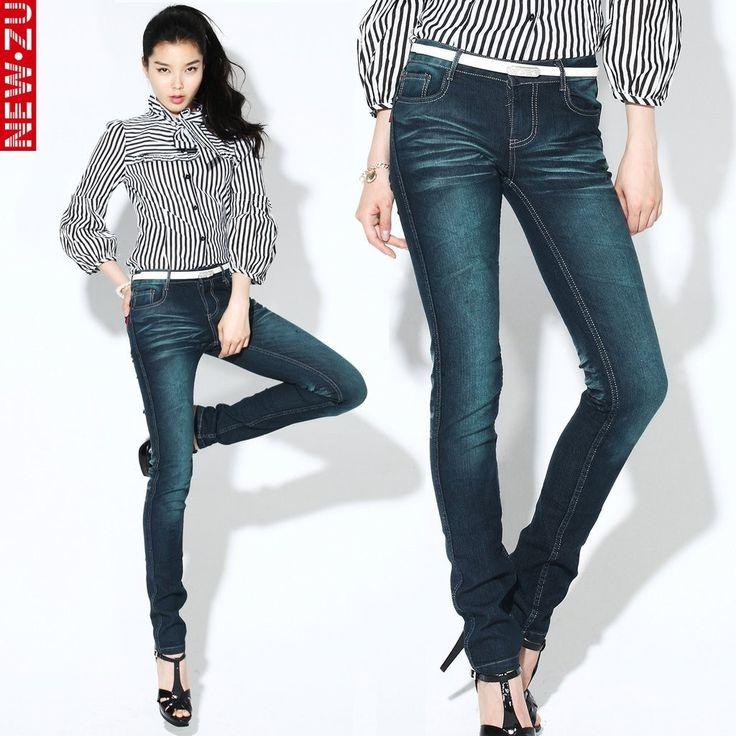 Retro Jeans 2015 Pants Women Jeans Skinny Colors Dark Blue Mid Waist Cotton  Denim
