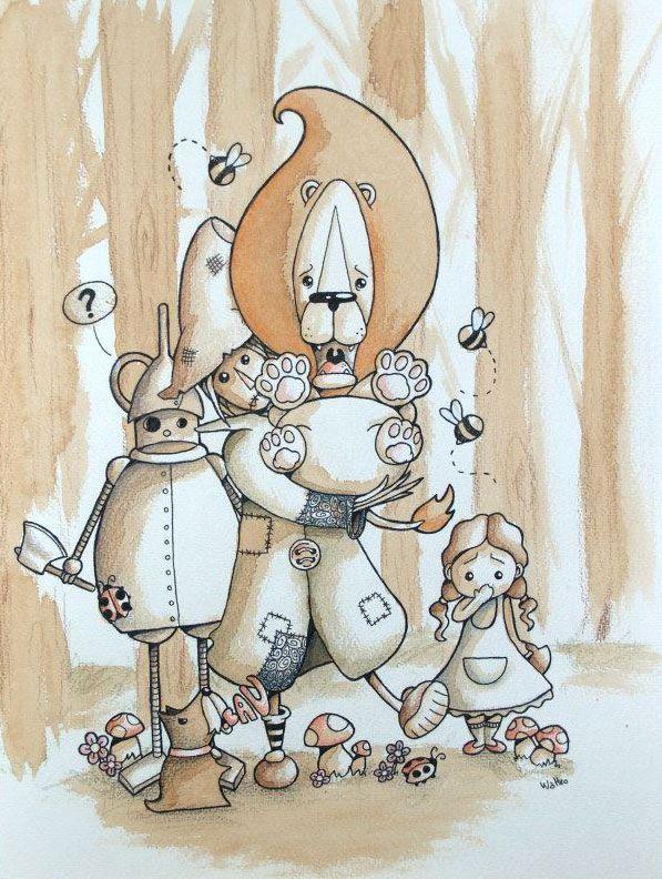 il leone codardo Watteo Illustrazioni al caffè http://www.watteoart.com/
