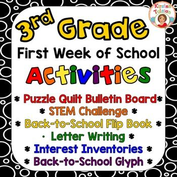 First Week of School Activities Pack for 3rd grade includes everything you'll need to establish a positive classroom environment right from the start! The back to school glyph, first of the year flip book, STEM challenge, and interest inventories are sure to help you understand your new class of students in no time and will also help students get to know each other well!