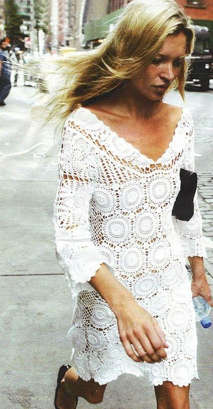 59 best crochet women dresses images on pinterest crochet dresses kate moss in a little white crocheted dress inspiration look fandeluxe Gallery
