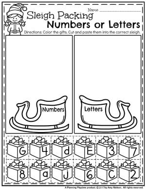 Christmas Worksheets for Preschool - Sleigh Packing Numbers or Letters Sort