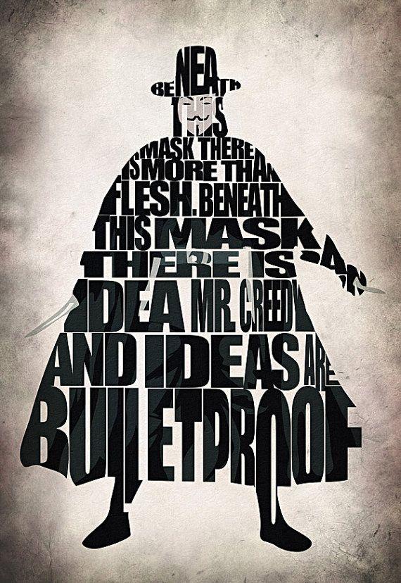 V for Vendetta Inspired V Typographic Poster