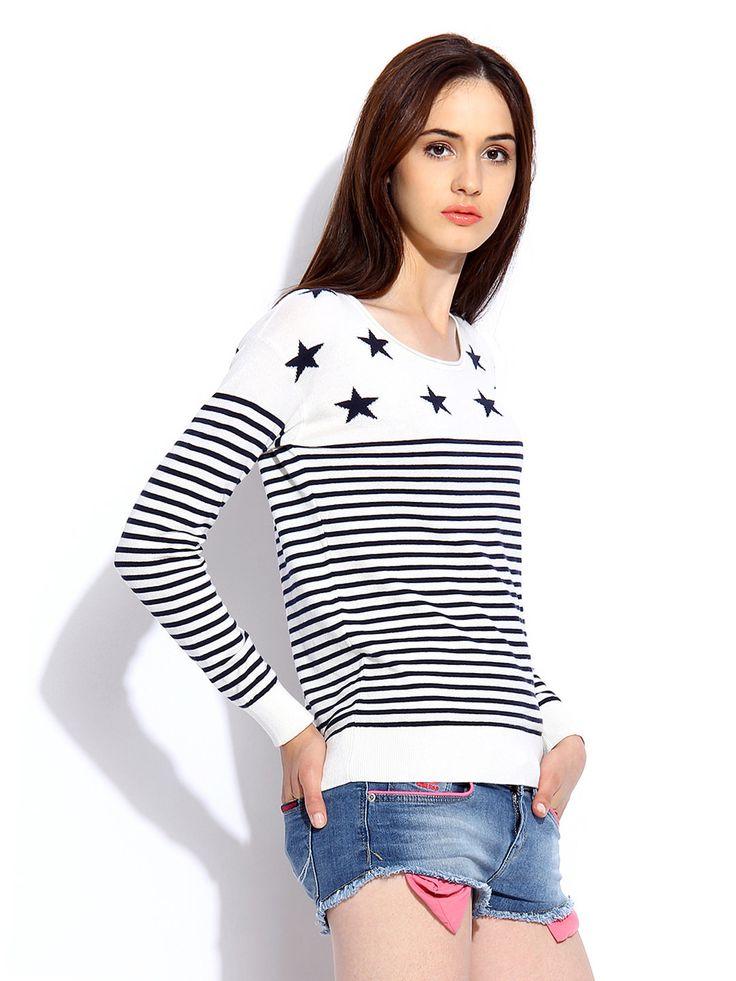 Women-White-Navy-Striped-shirt