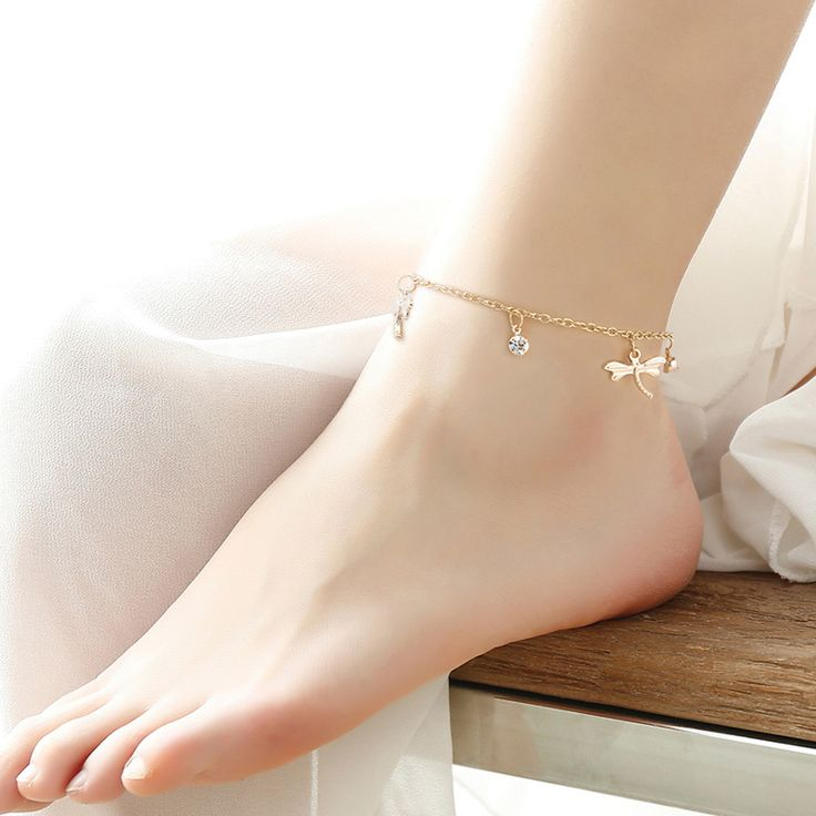 Simple European Style Sexy Women Gold Chain Ankle Anklet Bracelet Barefoot Dragonfly Sandal Beach Foot Jewelry Accessories