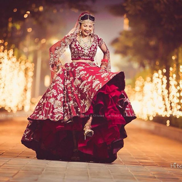 Royal wine red lehenga with extraordinary floral zari work | wedding lehenga ideas | wedding inspiration | wedfine.com |