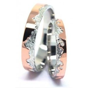 Bague Mariage Duo mariage Diamant or Rose et or Blanc Insolite Alliance