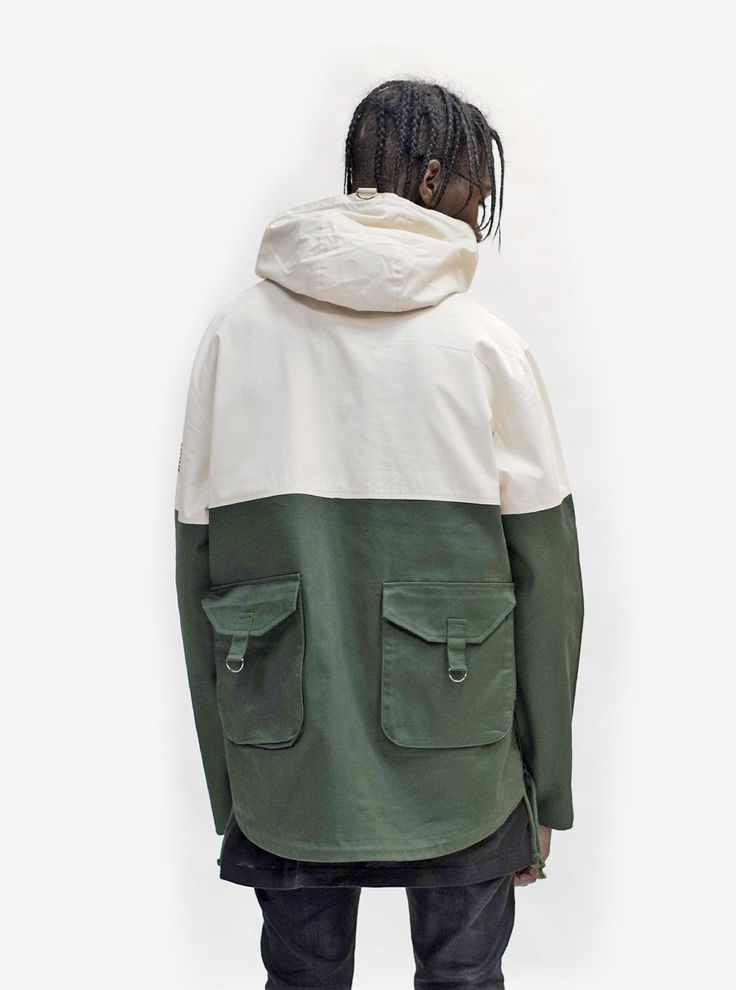 Three-tone Pullover Parka Jacket in Cream/Forest/Gold from Profound Aesthetic http://profoundco.com