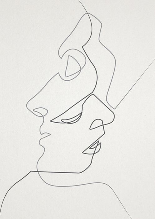 Simple Contour Line Drawing : Close art print all things contours and the kiss